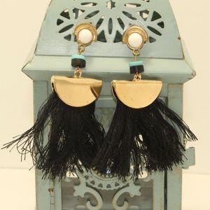 Chic Bead Boho Broad Tassel Earrings Geometric Bla